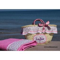 Enfermedad infecciosa cuenta Montaña  Capazo de niña y toalla de playa personalizado